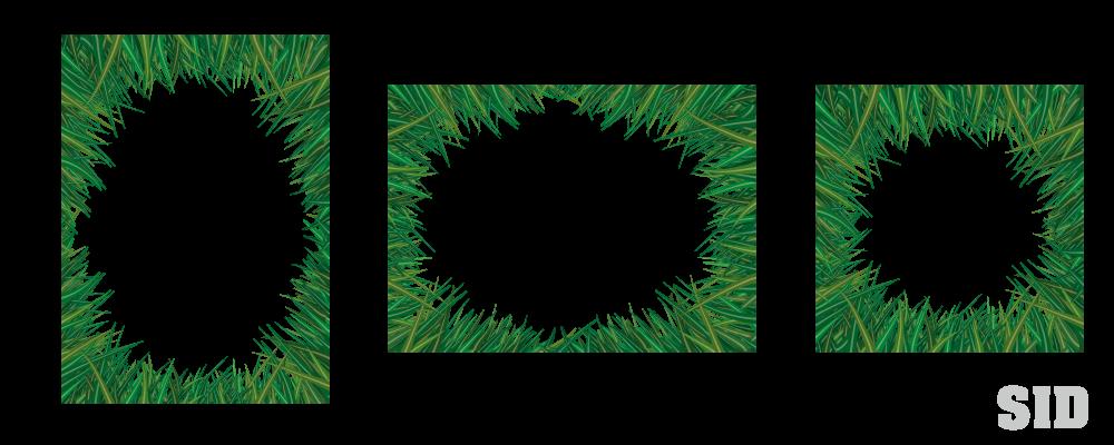 緑の草で囲ったフレーム素材