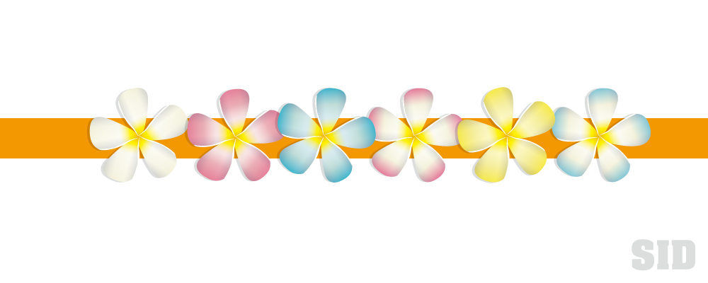 ピンクや青、黄色のプルメリアの花のイラスト素材