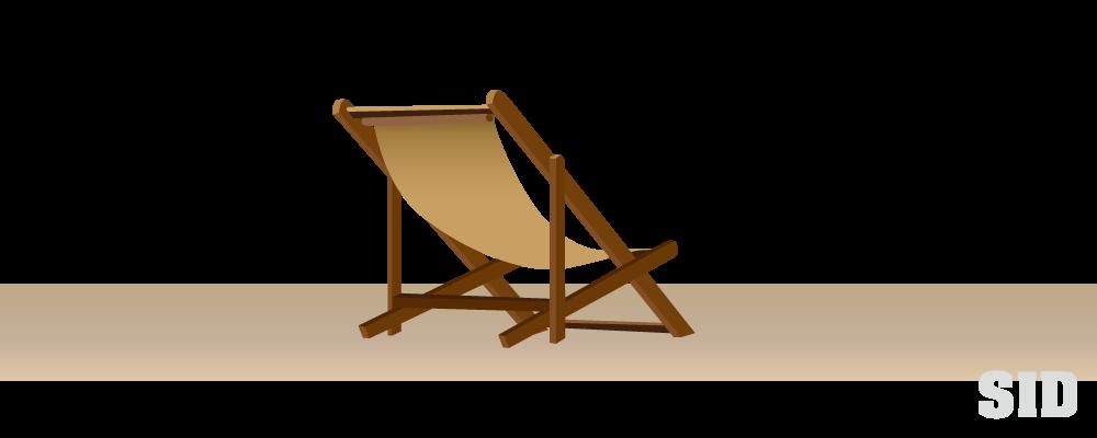 木製のビーチチェアのイラスト