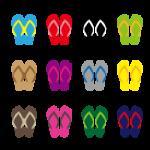 12色のカラフルなビーチサンダルのイラストセット