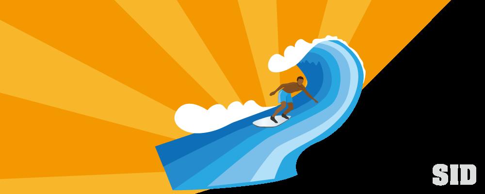 サーフィンのポップなイラスト