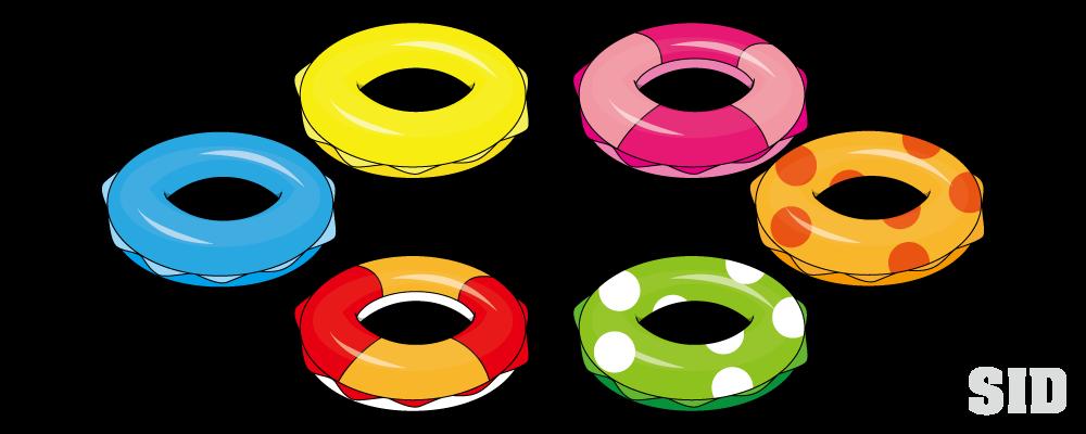 海水浴には必須のアイテム、様々な柄の浮き輪のイラスト