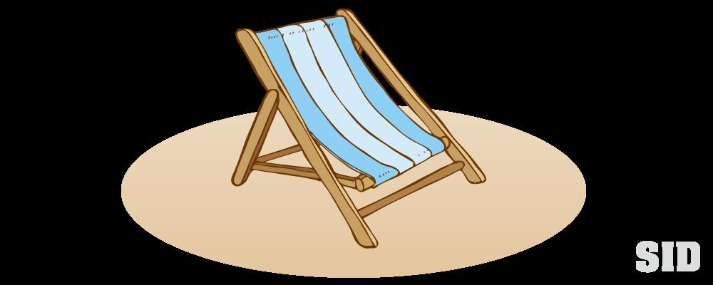 水色のシートが貼られた木製のビーチチェアのイラスト