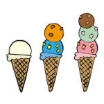 2段・3段に重ねられたアイスクリームのイラスト