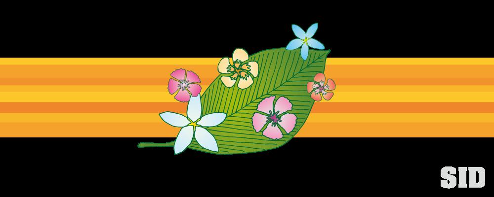 葉と花の南国風イラスト