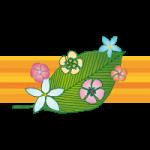 ピンクやオレンジの花と葉の南国風イラスト