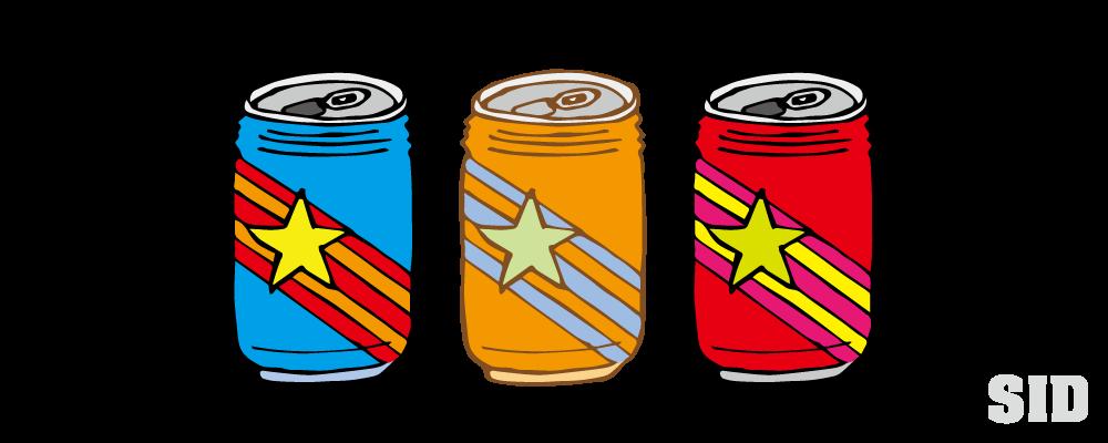 ポップなデザインの缶ジュース風イラスト