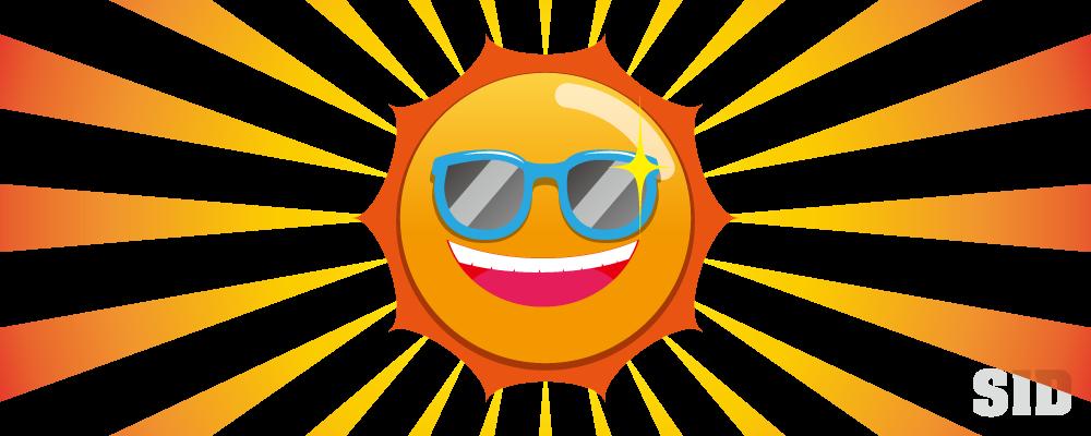 サングラスをかけた、満面の笑みの太陽のイラスト