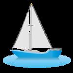 2枚の帆がなびくヨットのイラスト