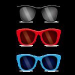 夏の日差しを遮る黒、赤、青のサングラスのイラスト