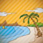 夕焼けに染まるビーチの手描き風イラスト