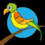 ポップな色合いの鳥のイラスト