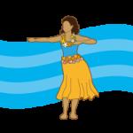 【無料・商用可能】フラダンスを踊る女性のイラスト