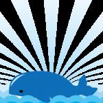海に浮かぶクジラのイラスト