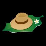 南国の大きな葉っぱの上に置かれた麦わら帽子のイラスト