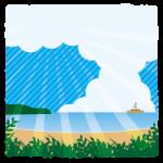 入道雲が空に浮かぶ、夏の海のイラスト